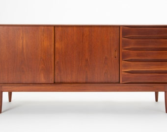 Danish Modern Teak Credenza with Bowtie Drawers by Johannes Aasbjerg