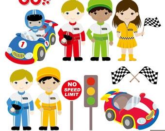 Car Racing Digital Clipart