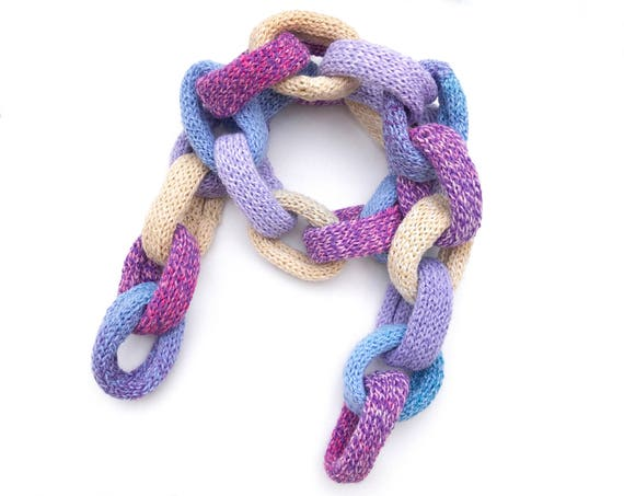 Candy Chain Scarf - Pastel Pink Chain Link Scarf - Chain Scarves in Light Pastel Colours • Cute Pink, Blue, Cream, Purple, Mauve Chain Scarf