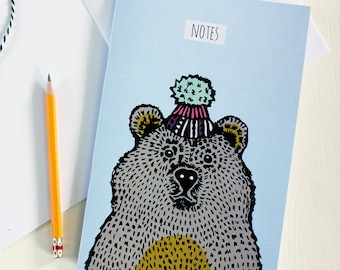 Bear In A Hat Illustrated Notebook