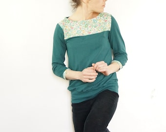 """t-shirt emerald green liberty """"betsy"""" floral blue, turquoise etc sleeves three quarter"""