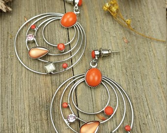 Vintage Orange Gemstone Dangling Earrings