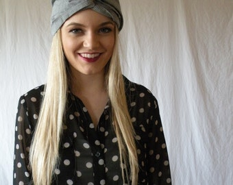 Turban Headband Headwrap Womens Fashion Accessory Hair Band in Grey