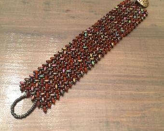 Herringbone beaded bracelet, red