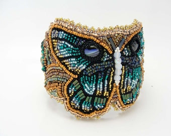 Bead Embroidered Bracelet Teal Butterfly