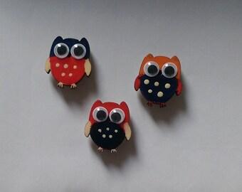 Set of 3 cute owl fridge magnets
