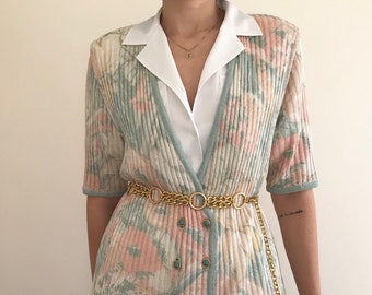 60's Vintage Pink Floral Print Ribbed Double Breasted Cardigan with Eight Turquoise Buttons