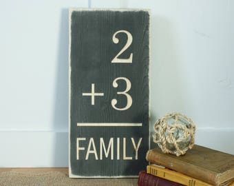 Family Math - Customize to Your Family - 8x15 Farmhouse Gallery Wall Carved Wooden Distressed Sign