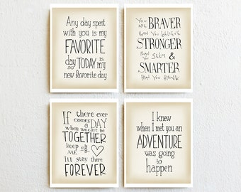 Winnie the Pooh print set of 4 quotes, wall art baby girl nursery decor new baby gift, kids room wall art toddler, baby shower gifts