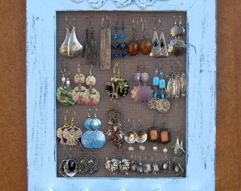 JEWELRY DISPLAY RACK Light Blue Shabby Chic,  jewelry wall organizer / 25 - 40 Earrings / 20 - 30 Necklaces