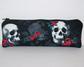 "Pipe Pouch, Skull Rose Bag, Pipe Case, Pipe Bag, Padded Pipe Pouch, Skulls Purse, Vape Pen Bag, Goth Pouch, Padded Zipper Bag - 7.5"" LARGE"