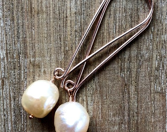 Pearl Earrings - Rose Gold Pearl Earrings - Peach Pearl Earrings - Rose Gold Earrings - Freshwater Pearl Earrings  - Pearl Drop Earrings
