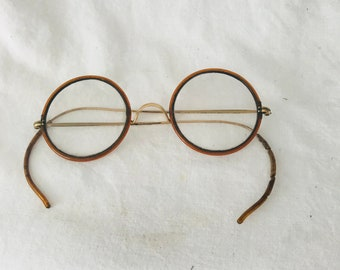 Antique Wire Rim Eyeglasses Bakelite Golden brown rims gold metal frames early 1900's RARE with these rims collectible display accessories