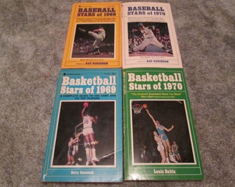 4--Vintage--SPORTS--Books--Baseball Stars Of 1969/1970--Basketball Stars Of 1969/1970--Paperback Books