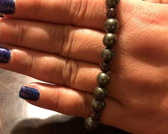 Pyrite and Garnet Crystal Bracelet