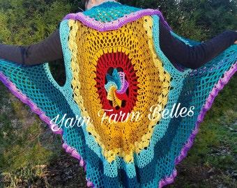 Rainbow Mandala Waistcoat , bohemian jacket,