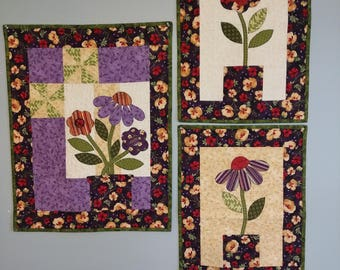 Pots a Plenty Flowers Quilted Wall Hangings