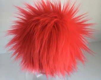 Luxury Fire Engine Red Faux Fur Pom Pom