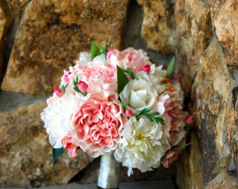 Large Pink and White Peony Bouquet, 14'' Blush Ivory Artificial Bouquet