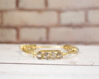 The Caroline - Smoky Quartz Czech Crystal Stacker -  Wire Wrapped Gold Bangle
