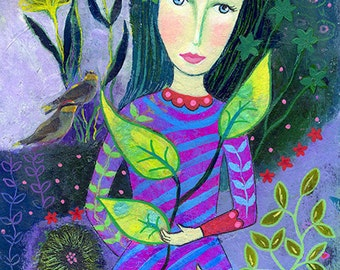 Demeter, original mixed media painting on paper, 10 x 7ins. birds, nature,