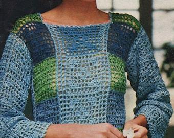 Filet Crochet Pattern, Womens Crochet Top Pattern, Crochet Clothing Pattern, Summer Crochet Pattern, INSTANT Download Pattern in PDF (1113)