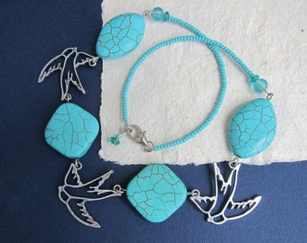 "Short necklace, Swallows &""turquoise"", Tibetan silver, Birds necklace, Silver swallows, Vacation style, Summer birds, Boho style"