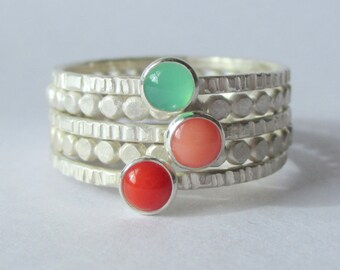Coral Reef - Tiny Stacking Ring Set - Sterling and Fine Silver - Lines and Dots