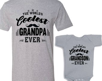 The World's Coolest Grandpa Ever - The World's Coolest Grandson Ever Matching Shirt Set