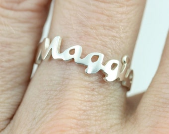 Name Ring in Sterling Silver (Made to Order)