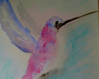 Original Abstract Watercolor  Hummingbird Painting Wall Decor Office,Business