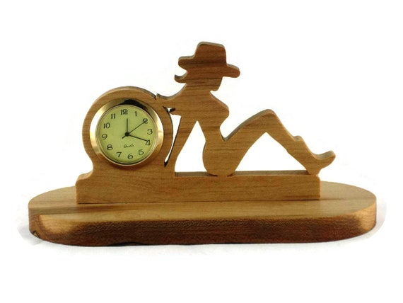 Cowgirl Desk Or Shelf Clock Handmade From Cherry Wood, Country Girl