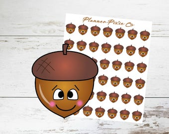 Fall Planner Stickers // Autumn // Acorn // Embarrassed