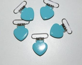 Pacifier clip turquoise heart