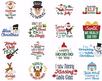 Santa, We Really Tried 16 Cute & Funny Christmas Quotes Great for the Holidays Machine Embroidery Design Pack INSTANT DOWNLOAD