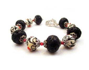 Lava Rock Bracelet. Lampwork Bracelet. Black and Red. Lava Rock Jewelry. Beaded Bracelet. Stone - MOLTEN - Costume Jewelry by Sparklingtwi