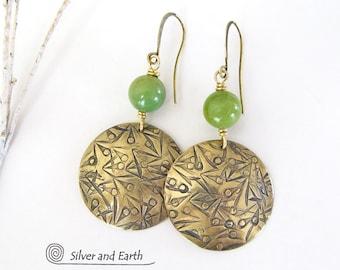 Gold Brass Earrings, Green Jade Earrings, Gold & Green Earrings, Spring Jewelry, Handmade Metal Jewelry, Round Gold Dangle Earrings