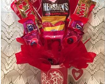 Valentine Candy Arrangement, Red Heart, Valentine Candy Gift