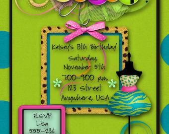 Birthday Party Invitation - Girl, Hip Hop, Safari, Funky, Punk Rock