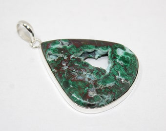 """Chrysocolla Druzy Pendant 2.4"""" Lenght 105Ct 925 Solid Sterling Silver Natural Gemstone Green Chrysocolla p-1"""