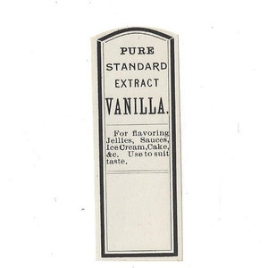 Pure Standard Extract Vanilla Vintage Label, 1920s