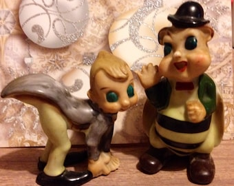 Set Of Vintage Anthropomorphic Bumblebee And Cricket Handpainted Pixies From Japan