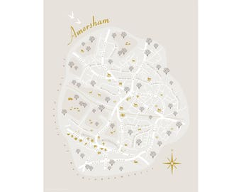 "Amersham Map. Buckinghamshire. Illustrative Fine Art Giclée Print 10"" x 12""  Home Decor, Wall art,"