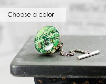 Circuit Board Tie Tack CHOOSE COLOR, Computer Jewelry, Electrical Engineer Tie Pin, Wearable Technology Gift, Lapel Pin, Computer Science