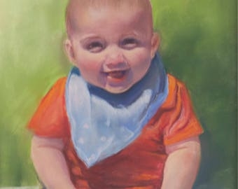 pastel portrait of a baby from a photograph