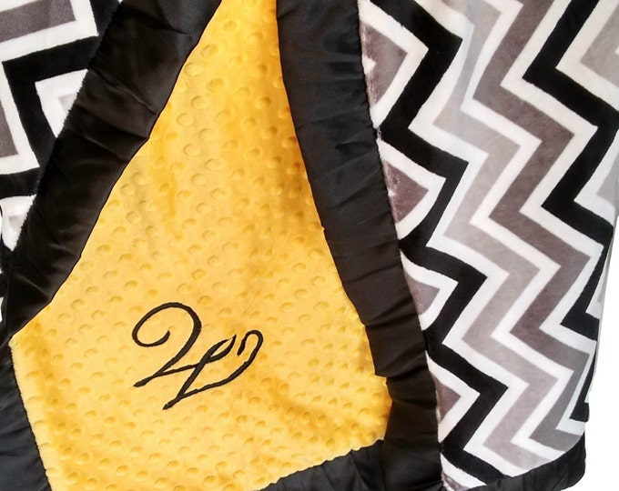 Yellow and Gray Minky Blanket, Gray Chevron Print - Crib Blanket, Baby Blanket, or Lovey in Yellow and Gray