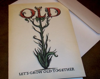Lets Grow OLD Together Valentine's Day Love Card Romantic  5x7 Greeting Card Blank inside by Agorables Undead