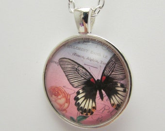 Glass Butterfly Pendant, Glass Butterfly Photo Pendant, Butterfly Necklace, Glass Butterfly Jewelry, Photo Jewelry, Mother's Day Gift