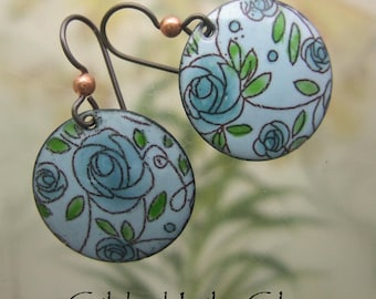 Aqua Roses Enamel Earrings, Copper Enamel Jewelry handmade in North Carolina