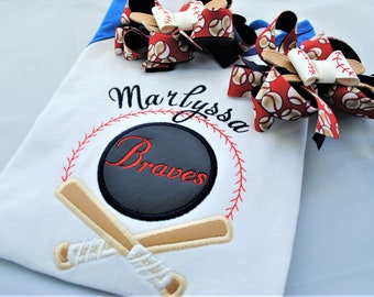 Baseball Team Shirt Embroidered Baseball Shirt Sibling Shirts Personalized Brother Sister Matching Outfit Take Me Out to the Ballgame Braves